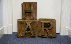 Architectural Salvage Interest Three 19th Century Large Red Bricks With Letter Forms To include