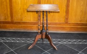 Early 20thC Tilt Top Table, Square Top Raised Three Turned Supports And Tripod Base,