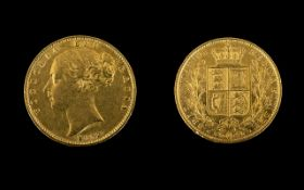 Queen Victoria Young Head / Shield Back 22ct Gold Full Sovereign, Date 1853, London MInt.