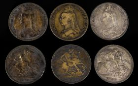 Queen Victoria - Jubilee Head - Silver Crowns (3). Dates 1889, 1890, 1889. Various Grades.