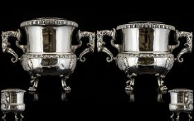 William IV Impressive and Large Pair of Irish Cast Silver Plated Twin Handle Champagne Coolers. c.