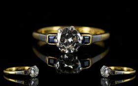 Ladies Attractive 18ct & Platinum Single Stone Diamond Set Dress Ring with baguette cut Sapphire