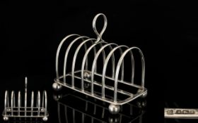 Solid Silver 6 Tier Toast rack, Raised on 4 Ball Feet of Solid Constructions with Stretcher,