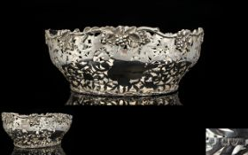 Late Victorian Period Superb Quality Open Worked Well Made Silver Centrepiece Bowl with Cast Silver