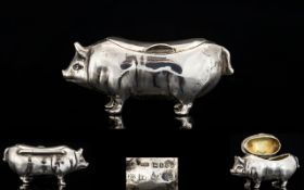 Victorian Period - Solid Silver Wonderful Quality and Rare Snuff Box In The Form of a Pig / Hog.