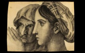 Unsigned Pencil Drawing On Paper Depicting two female profiles. 13 x 17 inches.