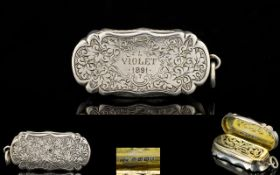 Victorian Period Superb Quality and Rare Shaped Solid Silver Vinaigrette of Very Pleasing Form.