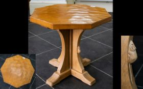 Robert Thompson Mouseman Of Kilburn Octagonal Occasional Table, with adzed top,