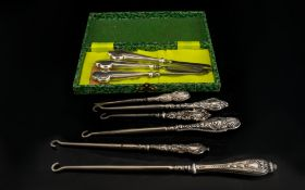 A Boxed Silver Manicure Set Three piece set comprising pincers, hoof stick and nail file,