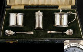 Elizabeth II Silver 5 Piece Cruet Set Complete with Blue Liners.