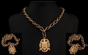 Victorian Period 9ct Rose Gold Albert Chain & Fob. All links marked 9.375 ct. 54.2 grams.