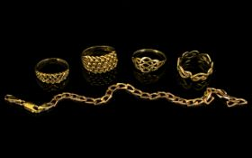 A Small Collection of 9ct Gold Rings / Bracelets ( 4 ) Rings, 1 Bracelet.