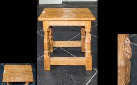 Robert Thompson Mouseman Of Kilburn Oak Dressing Table Stool, with adzed seat,