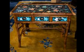 A Modern Oriental Bamboo Console Table - floral painted top of rectangular form with x 3 drawers.