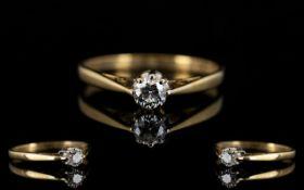 Ladies 9ct Gold Attractive Single Stone Diamond Ring.