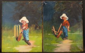Pair Of 1900's Oils On Canvas Depicting Comical Boys Playing Cricket.