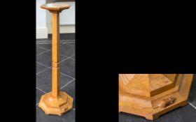 Robert Thompson Mouseman Of Kilburn oak candle stand,