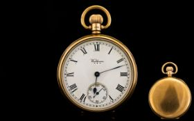 Waltham 9ct Gold Open Faced Keyless Pocket Watch. In excellent condition. Full hallmark for 9.375.