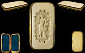 Wonderful Victorian Period Rare Carved Ivory and Gilt Hinged Cigar Case with silk interior.