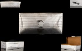 Gentleman's - Delux Version Solid Silver Table Cigarette Box with Cedar Wood Fitted Interior,