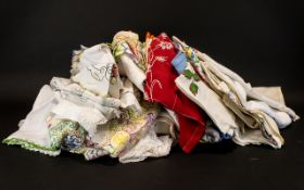 Collection of Vintage Table Linen to include embroidered and plain tablecloths, table napkins,