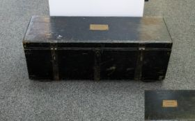 An Old Shipwrights Box/Trunk Of typical form, bearing brass plaque titled 'G Sinclair Shipwright,