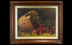 Early 20th Century Still Life Oil On Canvas Signed A. M Gloves , 1914 Depicting a basket overflowing