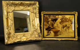 A Broad Gilt Framed Modern Mirror 18x15 Inches.