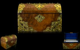 Mid Victorian Walnut Gothic Revival Stationary Box Of domed, casket form with brass strapwork,