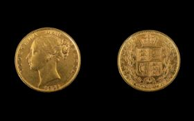 Queen Victoria Young Head / Shield Back 22ct Gold Full Sovereign.
