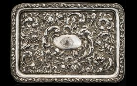 Art Nouveau Period Solid Silver Rectangular Shaped Tray with Embossed Stylished Floral Decoration,
