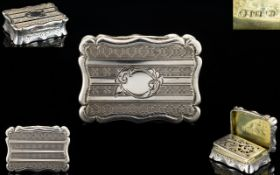 Victorian Period Superb Quality Shaped Solid Silver Vinaigrette, Marked for Edward Smith,