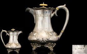 Edwardian Silver Coffee Pot of Pleasing Form and Quality with Silver Handle, Beak Form Spout.
