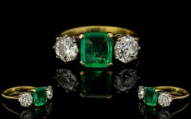 Art Deco Period - Attractive 18ct Gold 3 Stone Emerald and Diamond Set Dress Ring of Good Quality.
