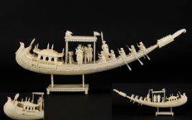 An Indian Superb Carved Ivory Model of a Ceremonial Boat with figures.