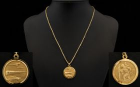 9ct Gold St Christopher Medallion with Attached 9ct Gold Box Chain, The Full 9ct Gold Hallmark.