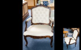 Early 20th Century Mahogany Bedroom Chair - later re-covered in cream leather with button back,