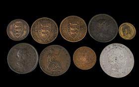 A Collection of British Copper/Bronze Coins 9 in Total. 1. George III Copper One Pence Date 1806.