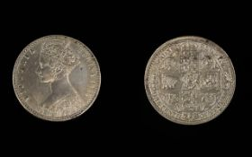 Queen Victoria Silver Florin Coin ( Godless ) One Tenth of a Pound. Date 1849.