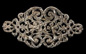 Nurses Silver Buckle Acanthus scroll design, fully hallmarked for London, C - 1977.