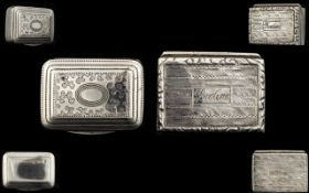 George III Solid Silver Miniature Hinged SnuffBox of Pleasing Form.