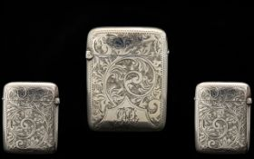 Victorian Period Silver Hinged Vesta Case,
