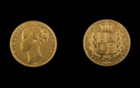 Queen Victoria Young Head / Sovereign Back 22ct Gold Full Sovereign - Date 1852.