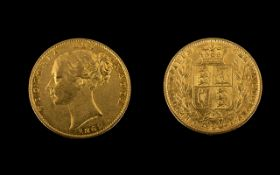 Queen Victoria Young Head / Shield Back 22ct Gold Full Sovereign. Date 1862, London Mint.