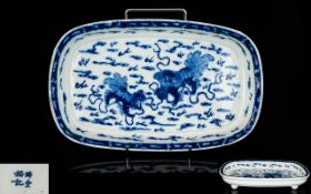 Chinese Antique Footed Blue And White Decorated Bowl Of Unusual shape,