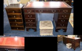 Gents Pedestal Writing Desk - Nine Drawers And With Red Leather To Top.