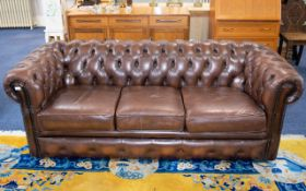Three Seater Brown Leather Chesterfield Button Back, In Good Condition.