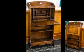 Early 20th Century Oak Arts And Crafts Writing Desk Bookcase Fall front with fitted interior above