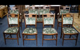 Edwardian Chairs Comprising Of Two Carvers, Four Dining Chairs And A Twin Seated Lounge Chair.