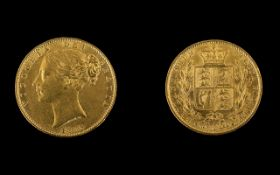 Queen Victoria Young Head / Shield Back 22ct Gold Full Sovereign. Date 1863 DIE Number 1.